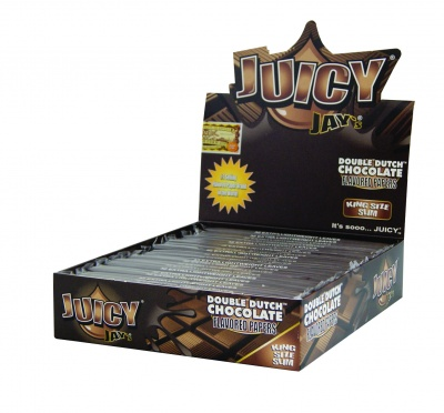 24 Juicy Jays Double Dutch Chocolate King Size Slim Flavoured Rolling Papers Full Box