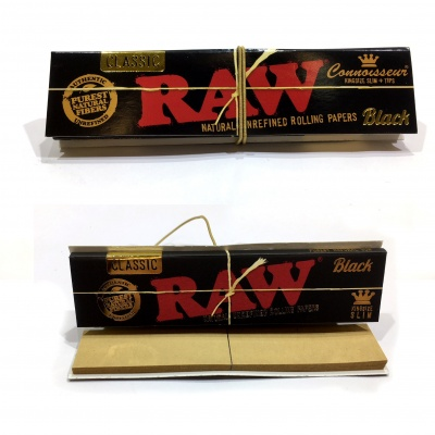 RAW Black Connoisseur Classic King Size Slim Rolling Papers + Tips