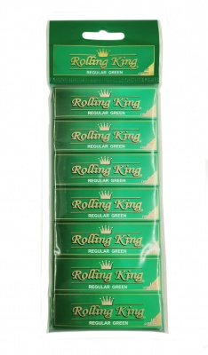 Rolling King Regular GREEN Cut Corners Rolling Papers - 7 Booklets