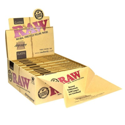 15 RAW Classic Artesano King Size Slim Rolling Papers Tips & Tray Full Box
