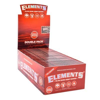 25 Elements Single Wide Doubles Rolling Papers Full Box