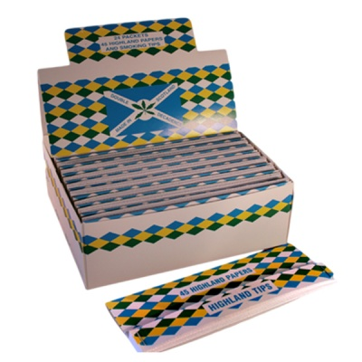 24 Highland Double Decadence Extra Long Rolling Papers & Tips Full Box