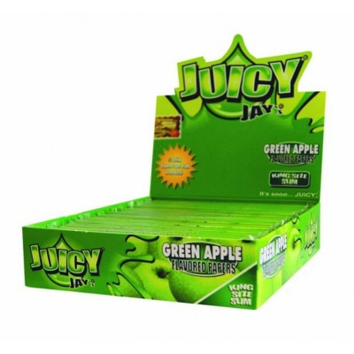 24 Juicy Jays Green Apple King Size Slim Flavoured Rolling Papers Full Box