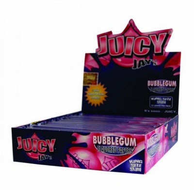 24 Juicy Jays Bubblegum King Size Slim Flavoured Rolling Papers Full Box