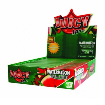 24 Juicy Jays Watermelon King Size Slim Flavoured Rolling Papers Full Box