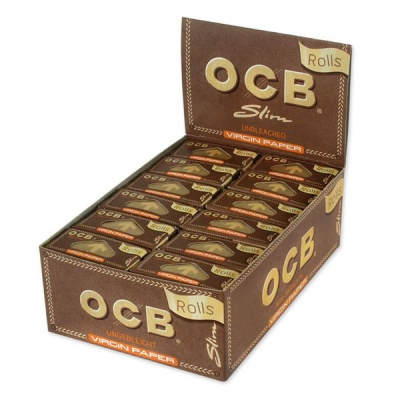 24 OCB Virgin Unbleached Slim Rolls Rolling Papers Full Box