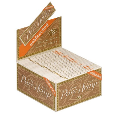 50 Unbleached King Size Slim Rolling Papers Full Box