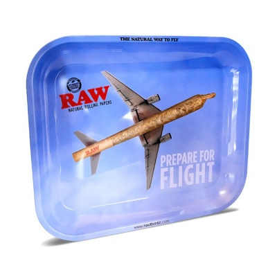 RAW Prepare For Flight Large Metal Rolling Tray