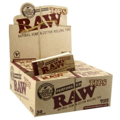 50 RAW Wide Perforated Cotton Tips Full Box