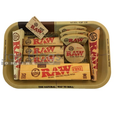 RAW Small Cone Lovers Rolling Tray Gift Set - Choice of tray!