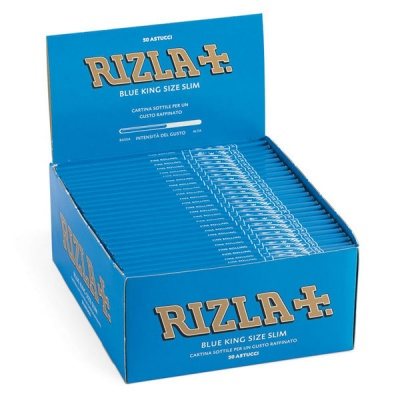 50 Rizla Blue King Size Slim Rolling Papers Full Box