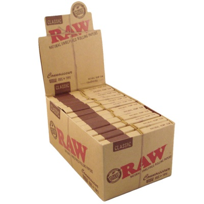 24 RAW Classic Single Wide Connoisseur Rolling Papers with Tips Full Box