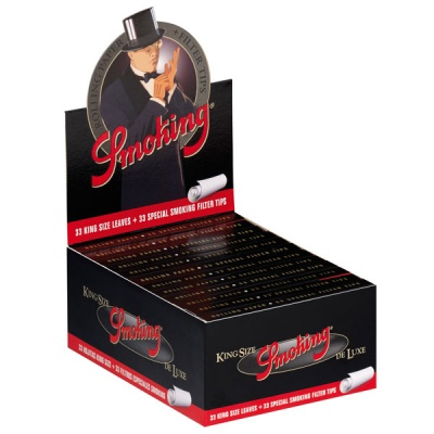 24 Smoking Deluxe King Size Slim Rolling Papers & Tips Full Box