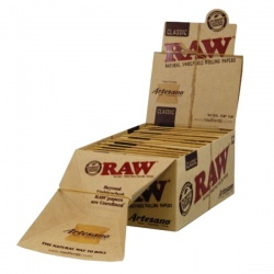15 RAW Classic Artesano 1¼ Rolling Papers Tips & Tray Full Box