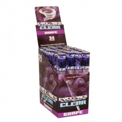 24 Cyclone Clear Grape Flavoured Pre Rolled Cones Full Box