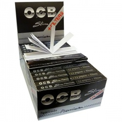 32 OCB Black King Size Slim + Filters Premium Rolling Papers Full Box