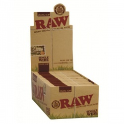 50 RAW Organic Single Wide Standard Size Rolling Papers Full Box