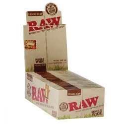 25 RAW Organic Single Wide Double Packs Standard Size Rolling Papers Full Box