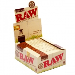 50 RAW Organic King Size Slim Rolling Papers Full Box