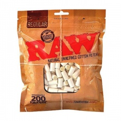 RAW Regular 8mm Cotton Filter Tips 200 Bag