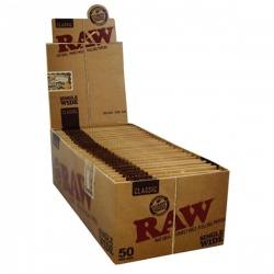 50 RAW Classic Single Wide Rolling Papers Full Box