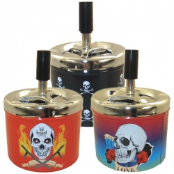 Metal Spinning Ashtray Various Skull Designs