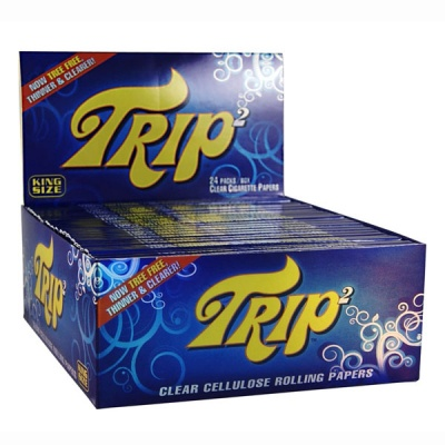24 Trip 2 Clear Cellulose King Size Rolling Papers Full Box