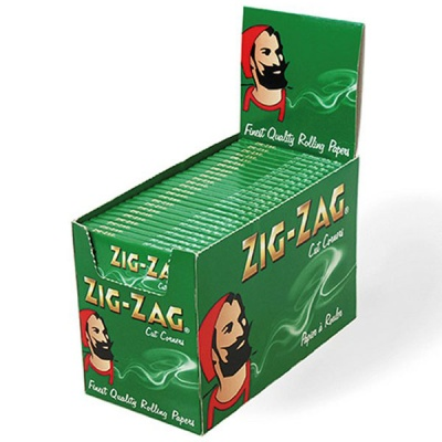 100 Zig-Zag Green Regular Single Wide Rolling Papers Full Box