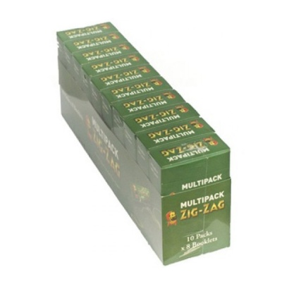 80 Zig-Zag Green Regular Rolling Papers 10 x 8 Multipacks Full Box